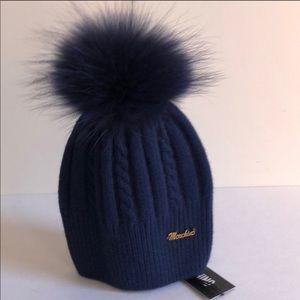 Moshino Winter Hat w/Raccoon Fur Pom NWT Navy